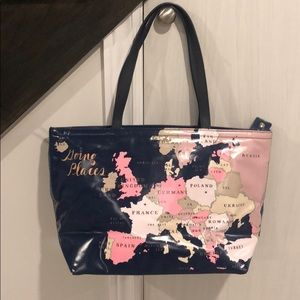 Kate Spade going places world map tote bag
